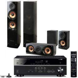 Zestaw kina domowego Yamaha RX-V385 + kolumny Pure Acoustics Nova 6 czarne, system 5.0
