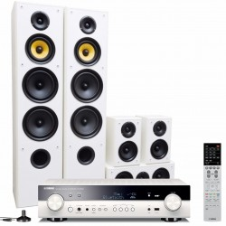 Zestaw kina domowego Yamaha RX-S601D Biały + Taga Harmony TAV-606v3 Białe, system 5.0