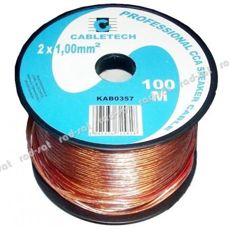 Kabel, przewód głośnikowy CCA 2 x 1.00mm CABLETECH (KAB0357) - 1 mb