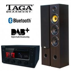 Hybrydowy zestaw stereo z odtwarzaczem CD Taga Harmony HTR-1000CD + kolumny głośnikowe TAV-506F, z DAB+, Bluetooth i USB
