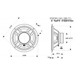 Głośnik niskotonowy Tonsil GDN 20/80 8 ohm z membraną celulozową.