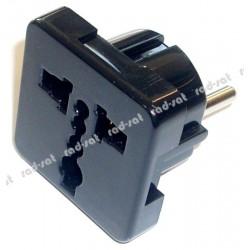 Przejściówka, złącze AC wtyk PL - gniazdo UK kolor czarny ZLA0558A