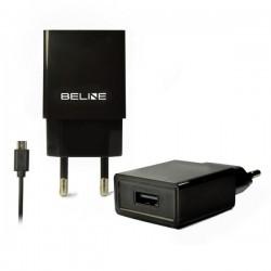 Ładowarka sieciowa Beline USB + microUSB 1A czarna