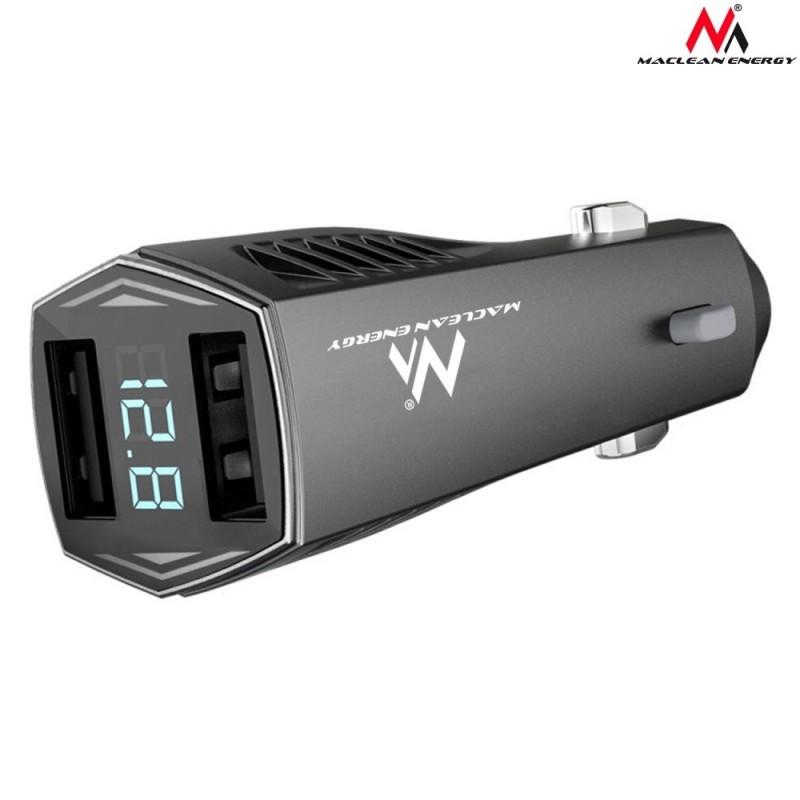Maclean Energy MCE126 4,8A Ładowarka samochodowa 2xUSB z wyświetlaczem, voltomierz